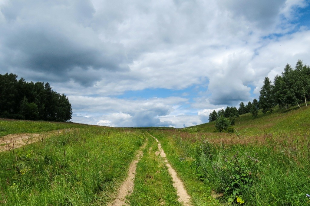 Лысково, Лысая гора, пейзаж, дорога, облака