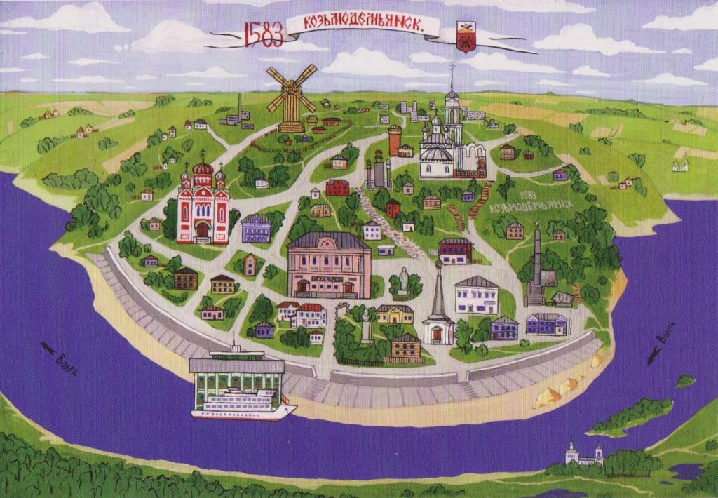 Козьмодемьянск, карта, достопримечательности