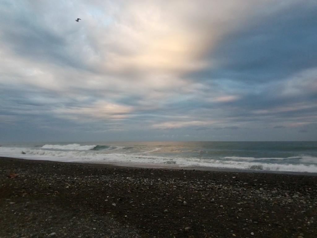 Адлер, берег, море, рассвет, Автостопом до Адлера