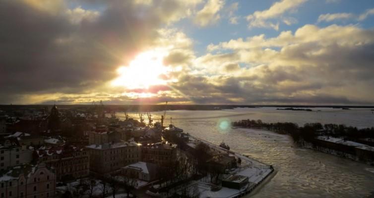 Выборг, зима, история, залив, панорама